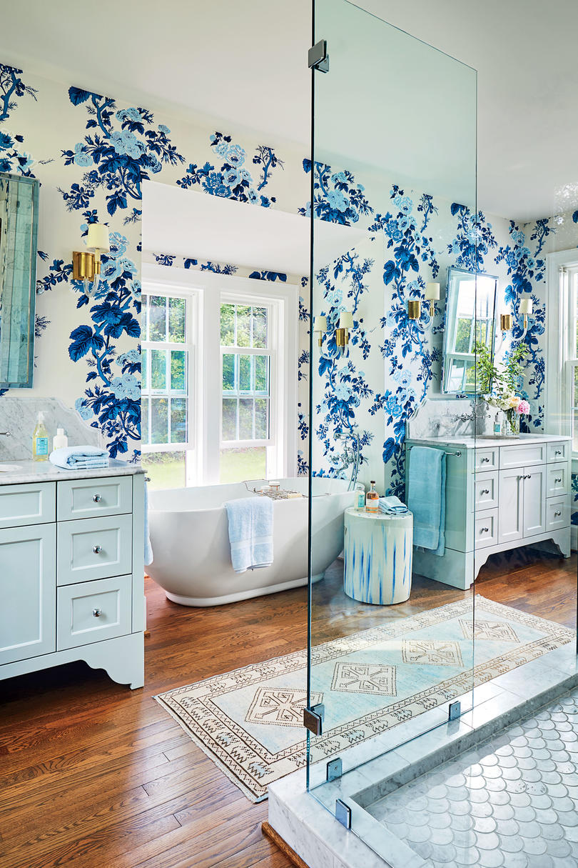 Lindsey Cheek Wilmington, NC Home Blue and White Master Bathroom