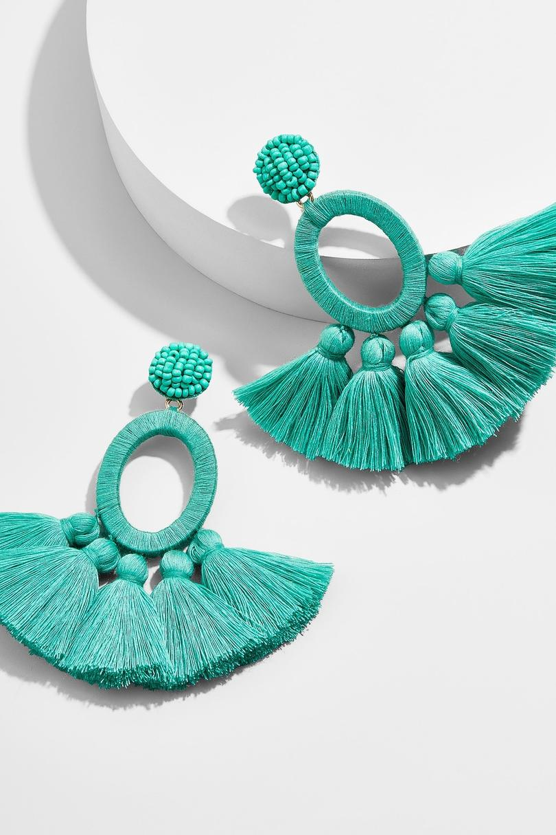 Turquoise Abacos Tassel Earrings