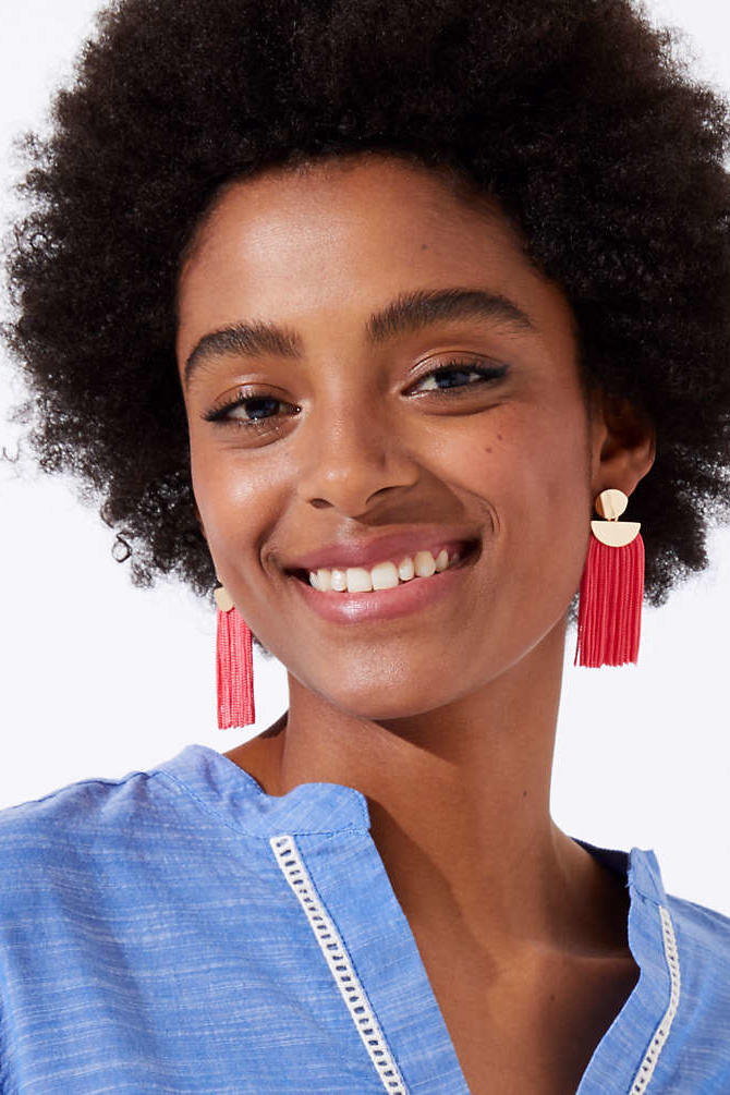 Red Geometric Tassel Earrings