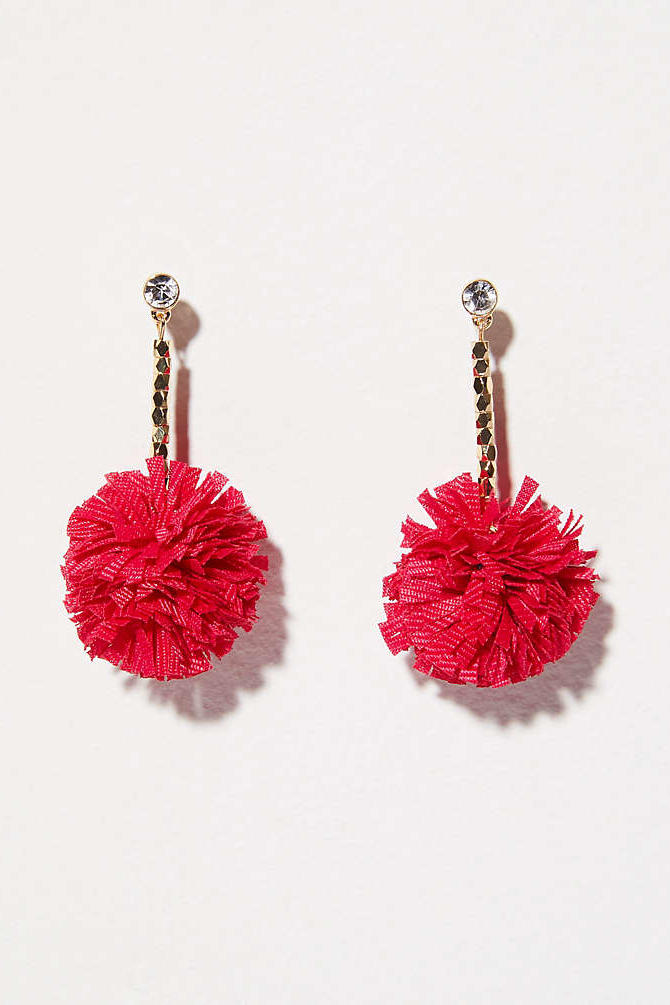 Red Pom Pom Drop Earrings