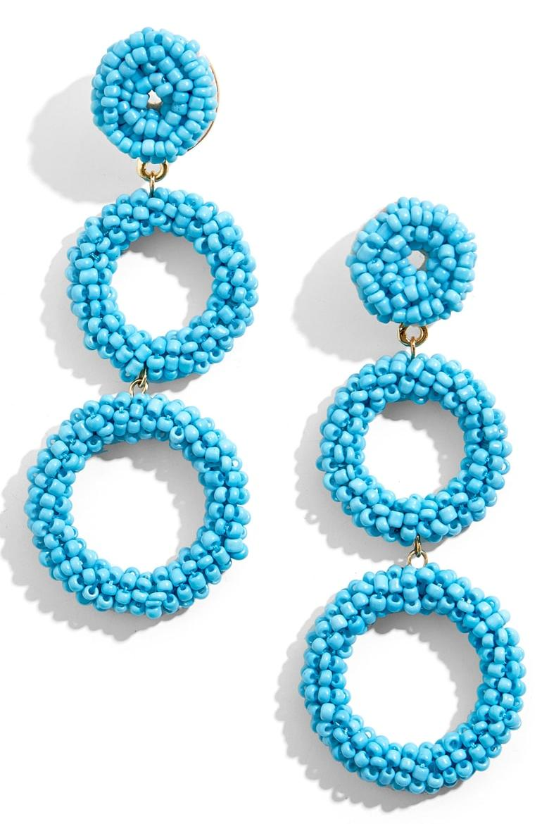 Turquoise Beaded Triple Hoop Drop Earring