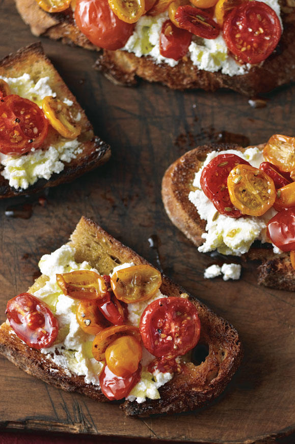 Caramelized Tomato and Ricotta Bruschetta