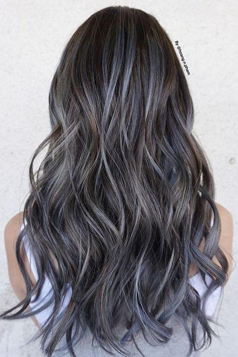 Denim Balayage on Deep Brunette