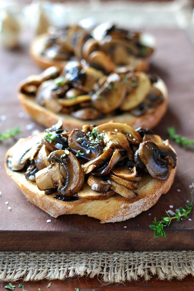 Mushroom Bruschetta with Balsamic and Thyme