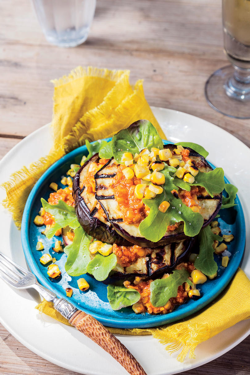 Grilled Eggplant-and-Corn Romesco Napoleons