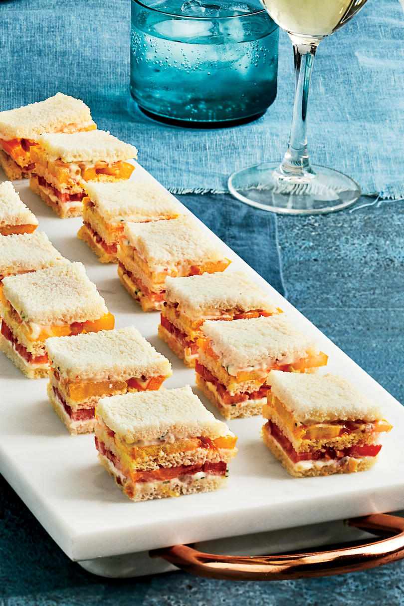 Mini Tomato Sandwiches With Bacon Mayonnaise