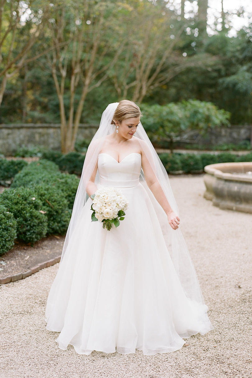 Bride in Simple A-line Wedding Dress