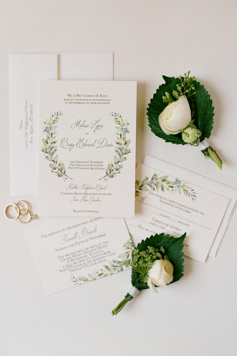 Simple Wedding Invitations with Greenery