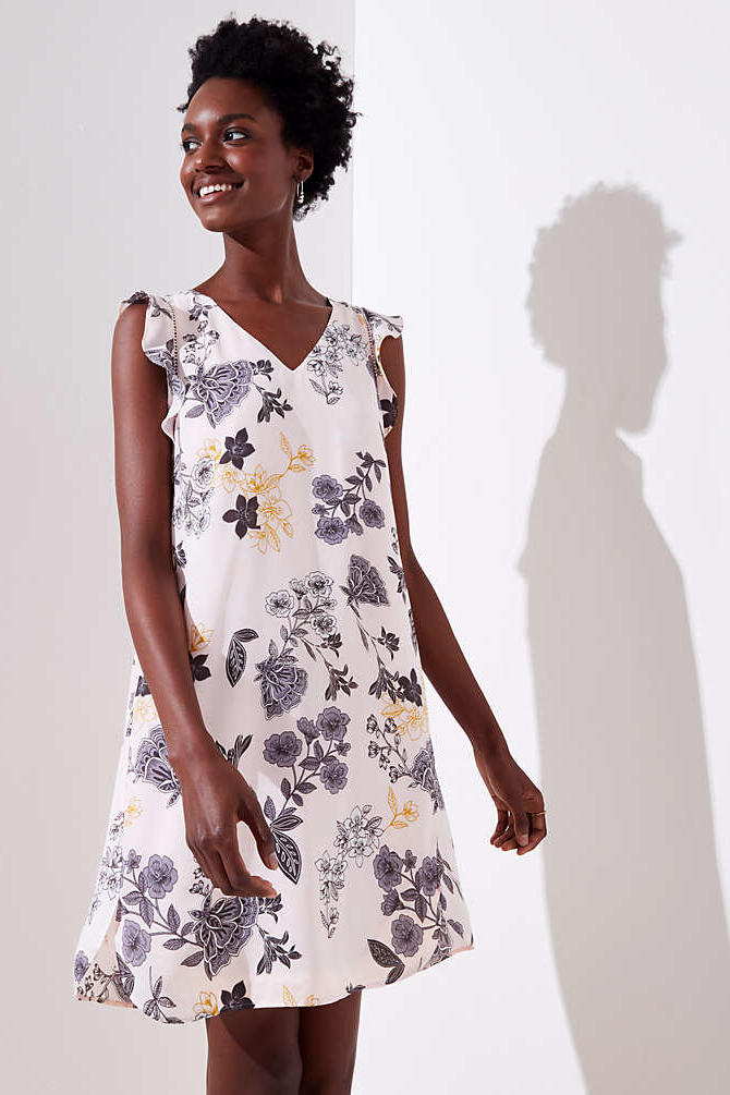 RX_1808_Transitional Floral Dresses: Floral Flutter Shirttail Dress
