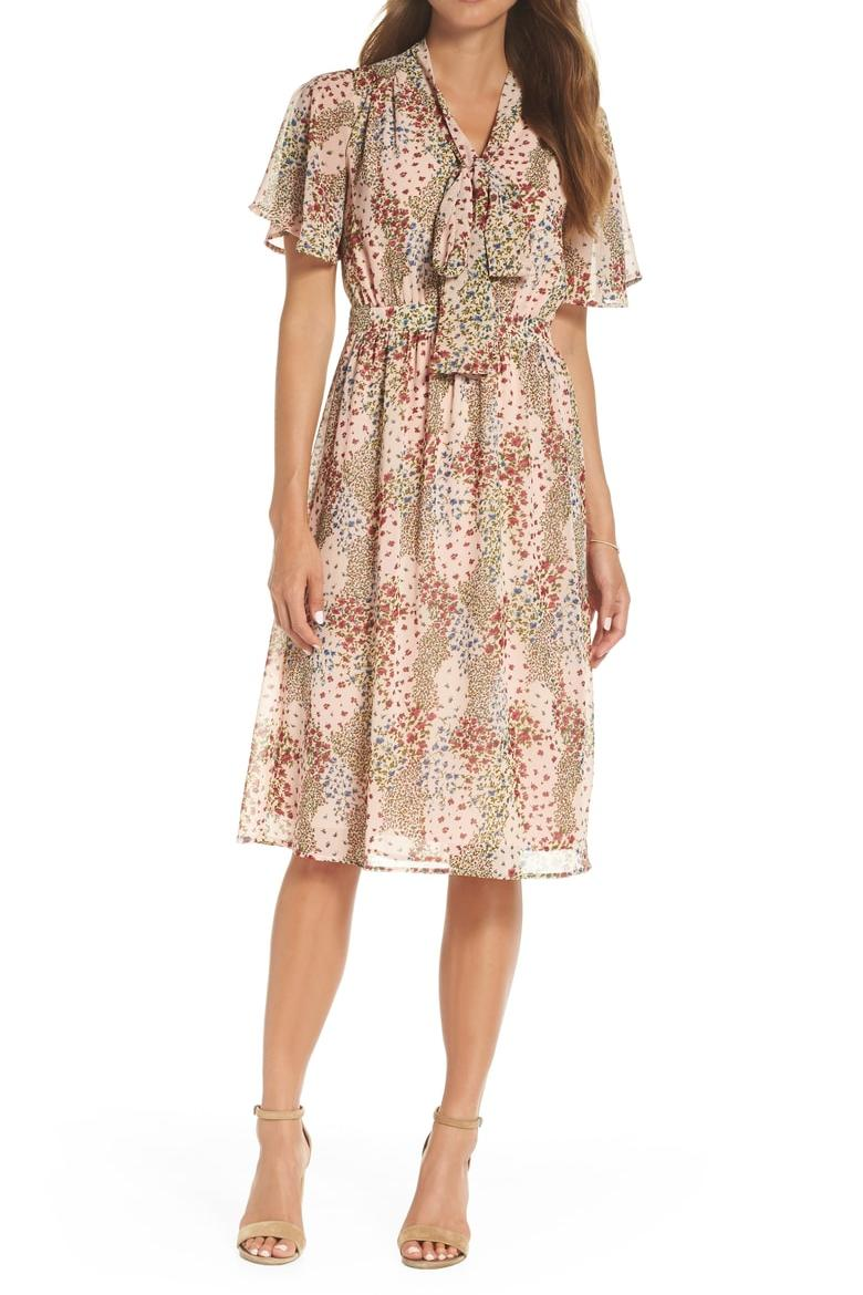 Tie Neck Floral Midi Dress