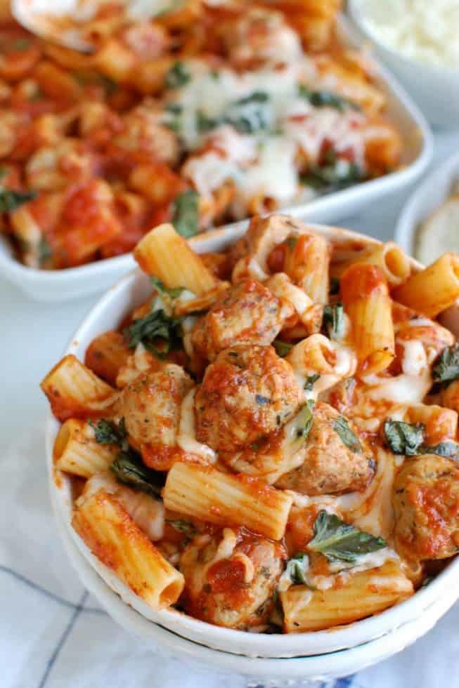Easy Baked Rigatoni with Chicken Meatballs