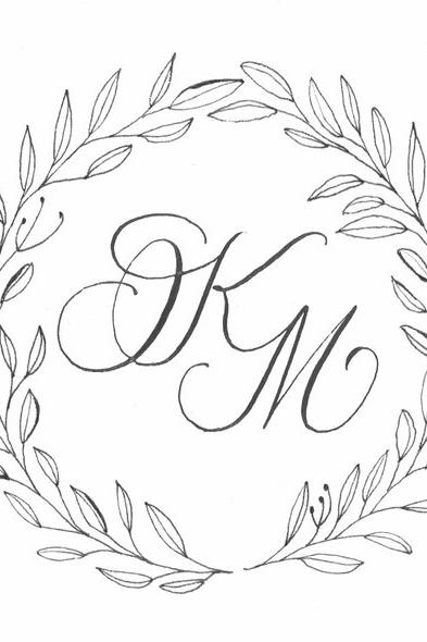 Minimalist Black and White Wedding Monogram