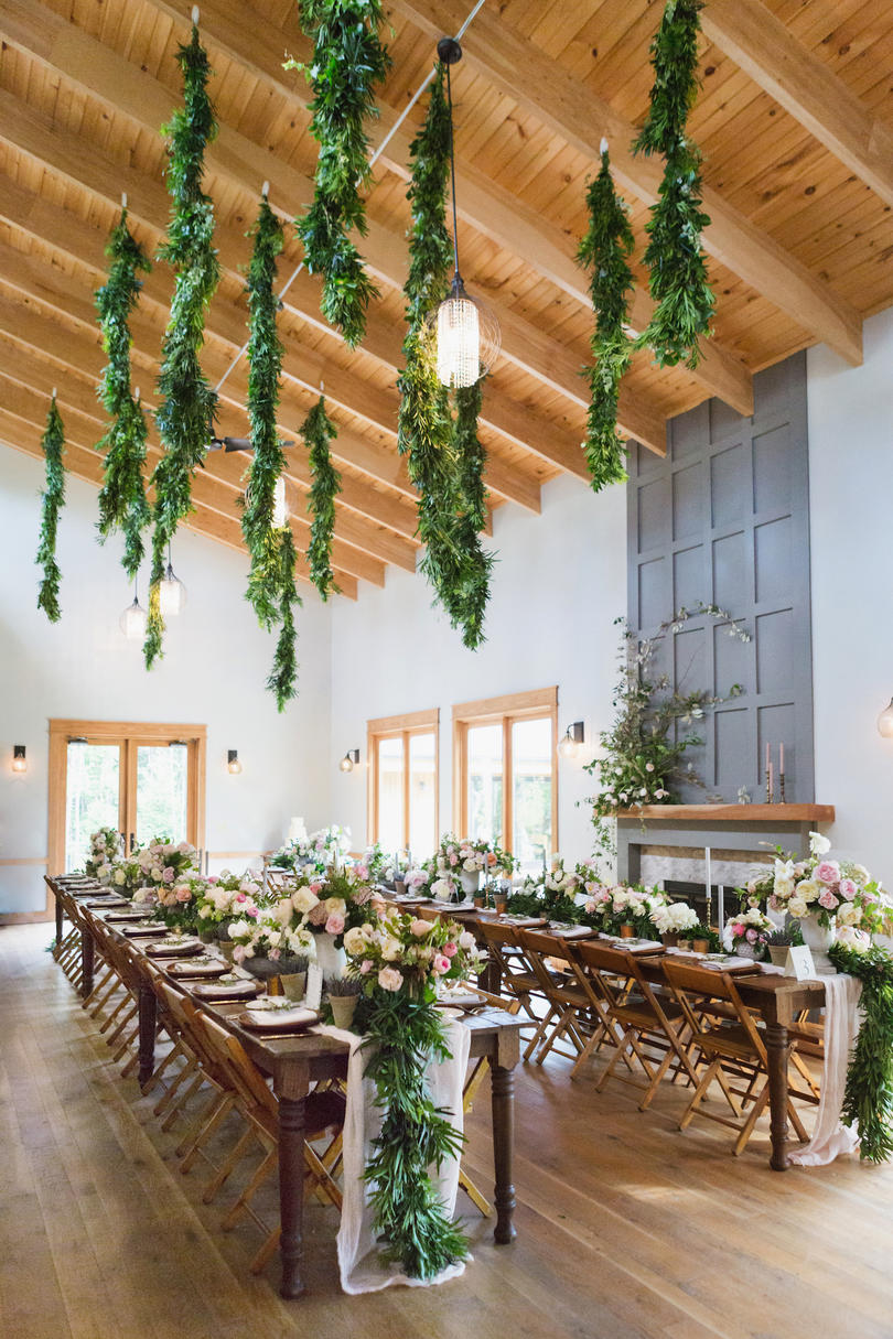 Wedding Reception Greenery and Garden Blooms