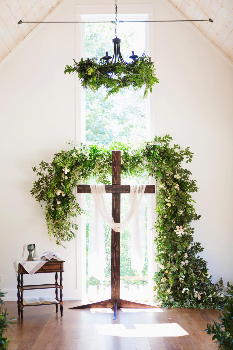 Wooden Cross Wedding Alter