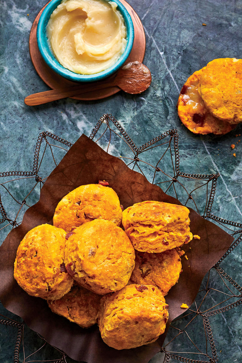 Pumpkin-Buttermilk Biscuits with Crispy Ham and Honey Butter