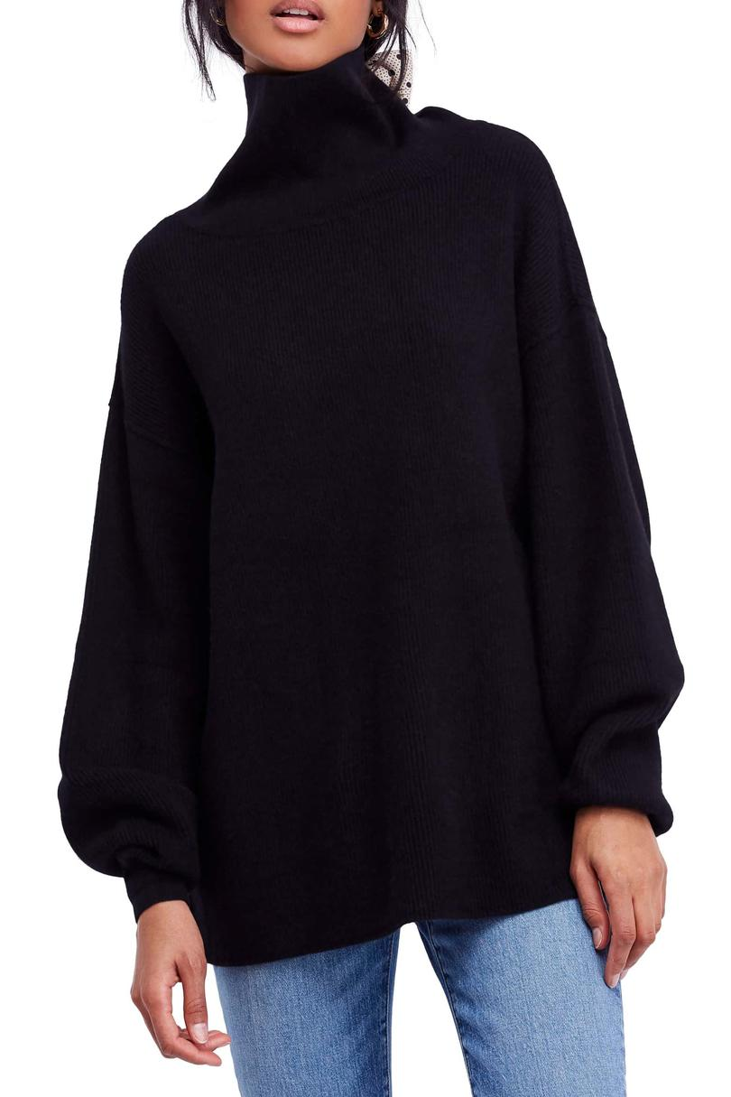 Oversized Rib Knit Turtleneck Sweater