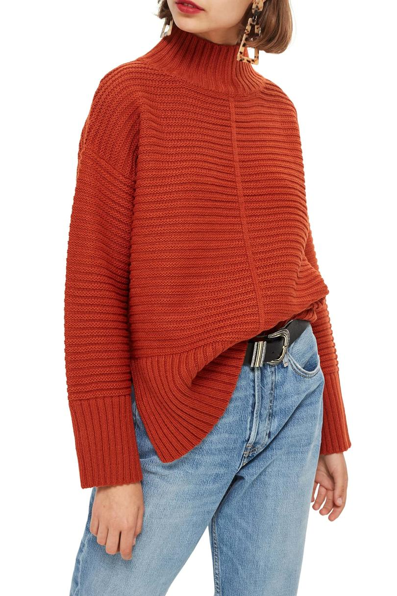 Burnt Orange Mock Neck Sweater
