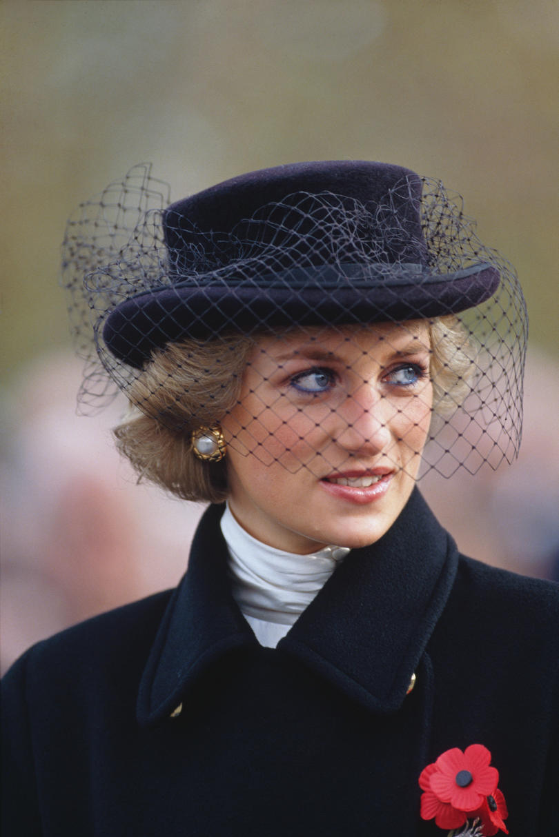 Princess Diana in a Black Veiled Hat