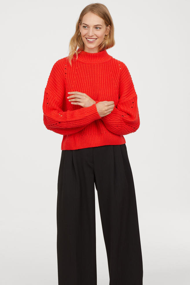 Bright Red Rib-Knit Sweater