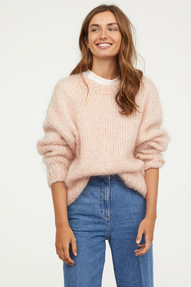 Powder Pink Knit Mohair-Blend Sweater