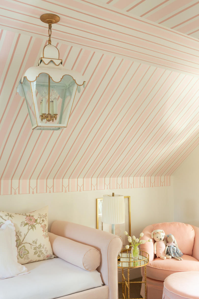 Pink Striped Nursery with Hand-Painted Stripes