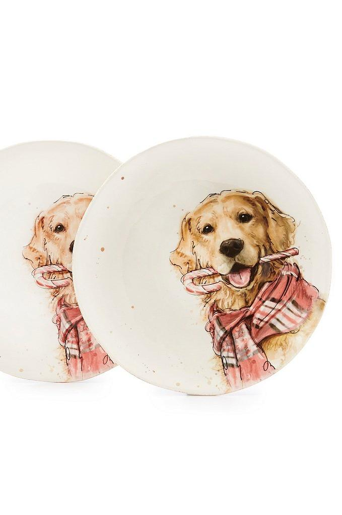 RX_1810_Hostess Gifts_Holiday Lab Dog with Peppermint Accent Salad Plate