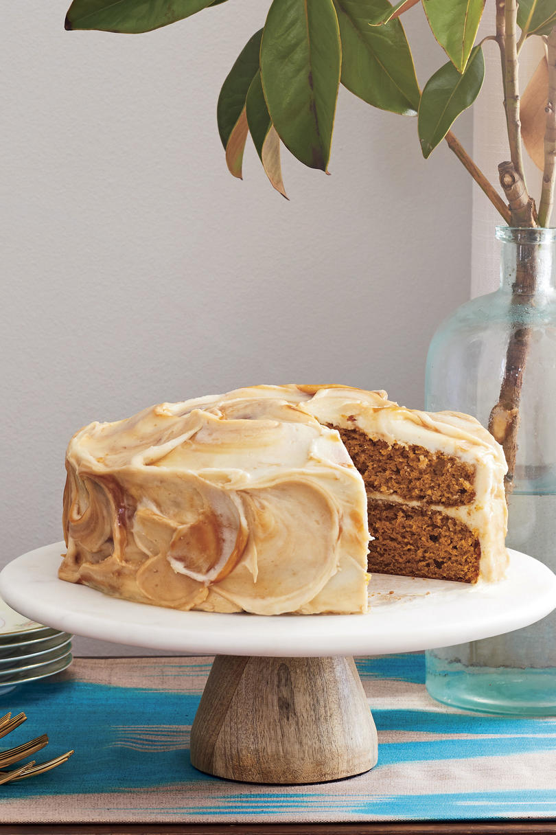 Joy Wilson Pumpkin Layer Cake with Caramel Cream Cheese Frosting for Friendsgiving