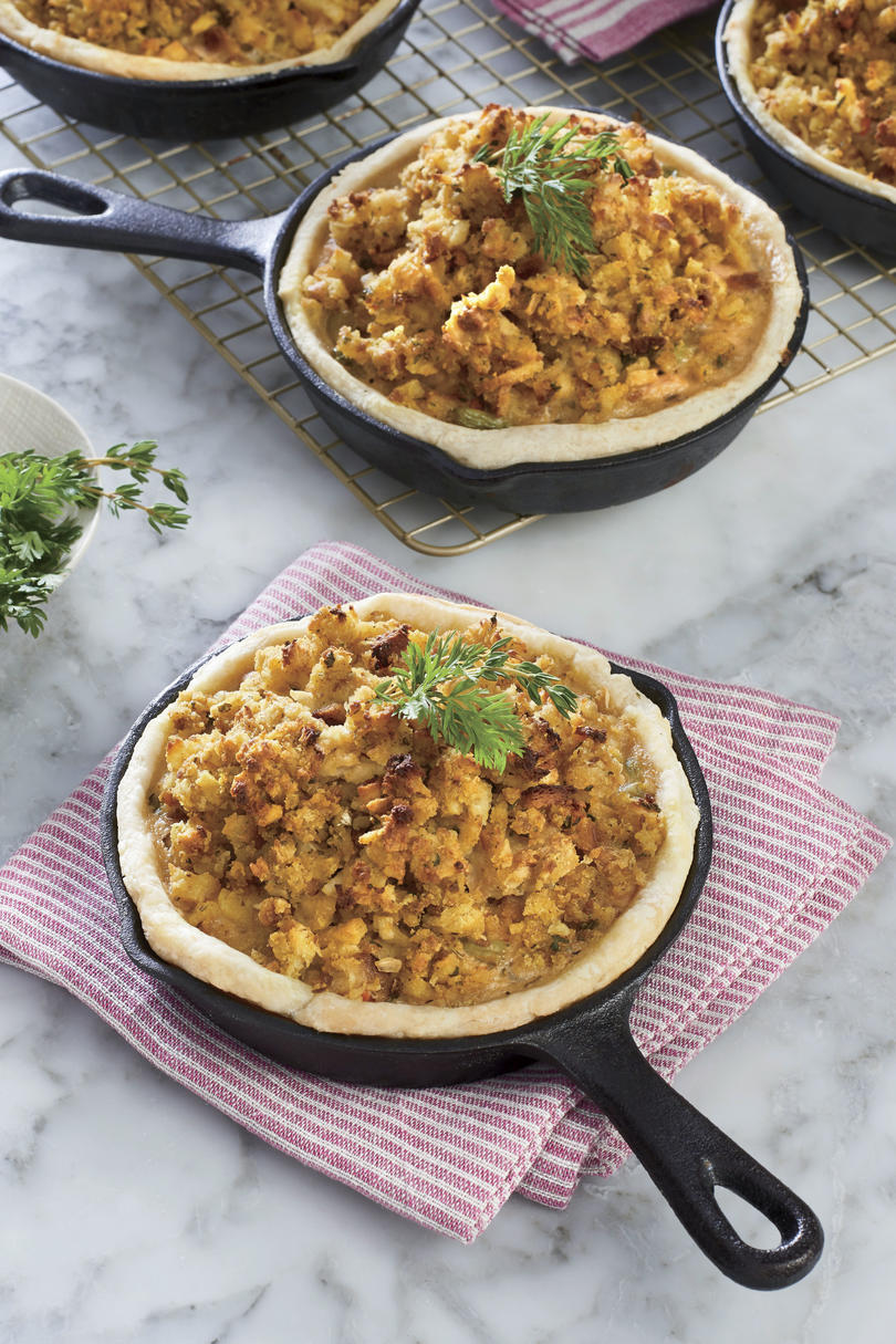 Mini Turkey Pot Pie Recipe with Dressing Tops