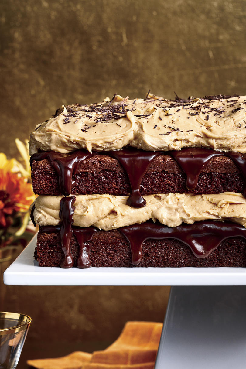 Chocolate Fudge Layer Cake with Caramel Buttercream