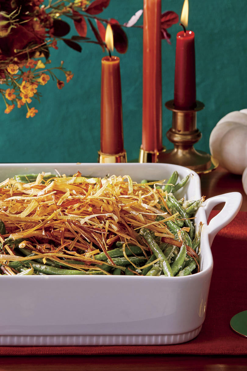 Green Bean Casserole with Crispy Leeks