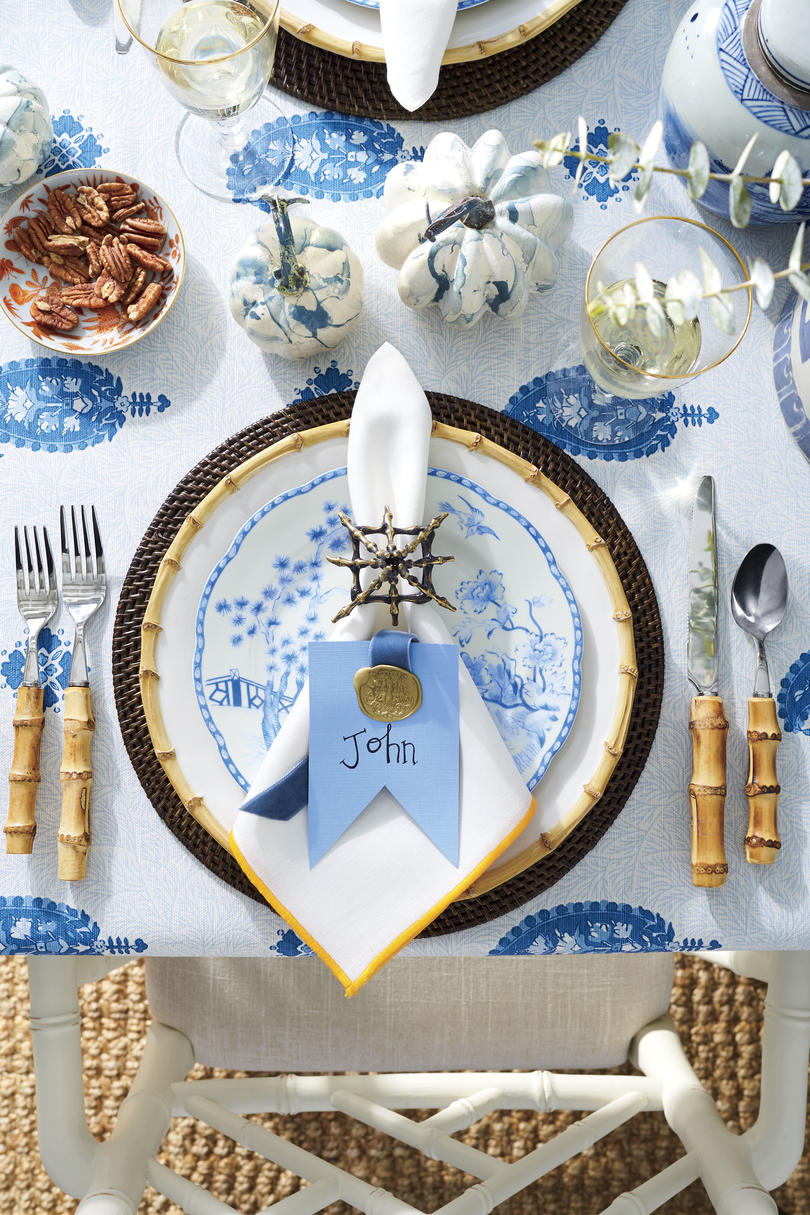 Blue and White Table Setting with Wax Seal Place Card