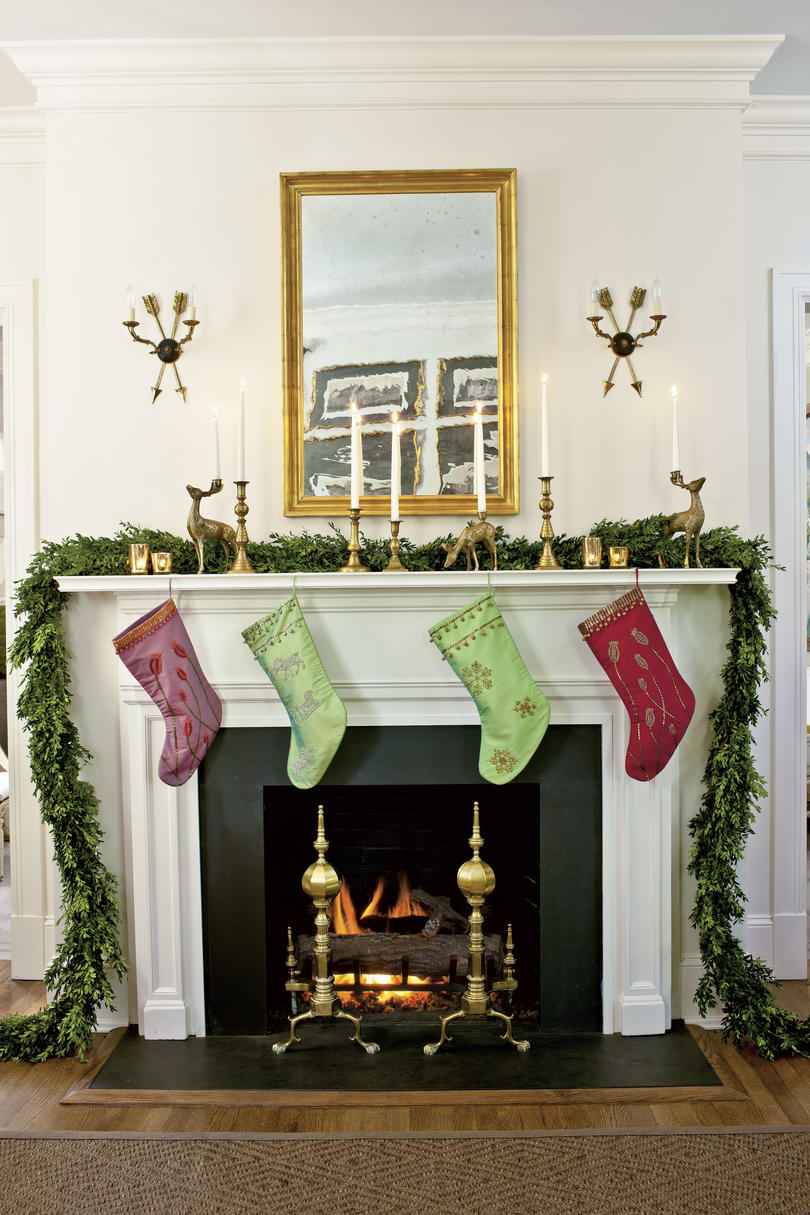 Boxwood and Gold on the Mantel