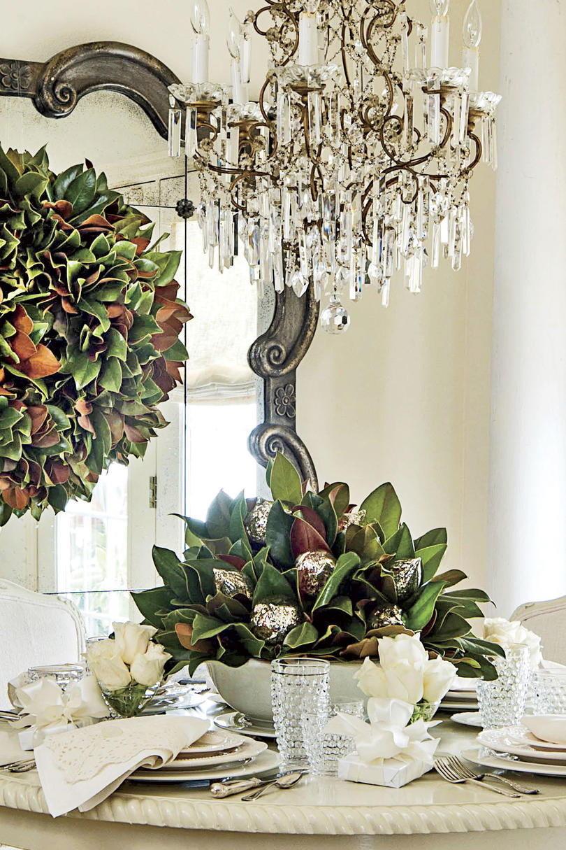 Magnolia Leaves in a Bowl for Christmas Decor