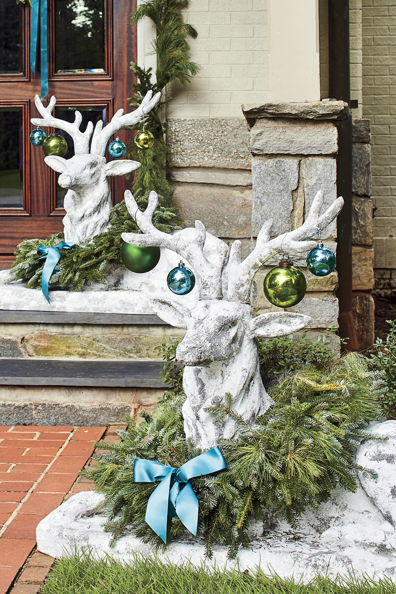 Deer Statues with Wreaths and Ornaments