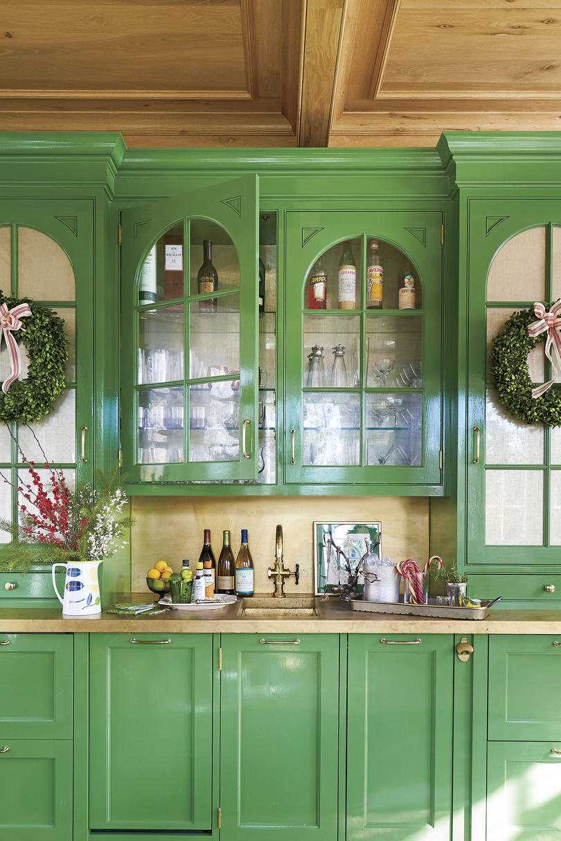 Natasha Lawler Charlottesville Home Green Sunroom Built-in Bar