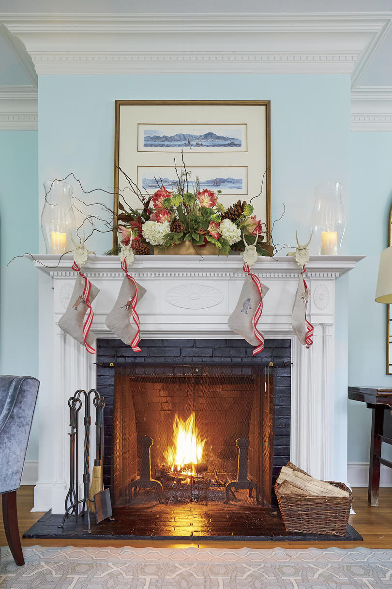 Natasha Lawler Charlottesville House Decorated for Christmas with Stockings by the Fire