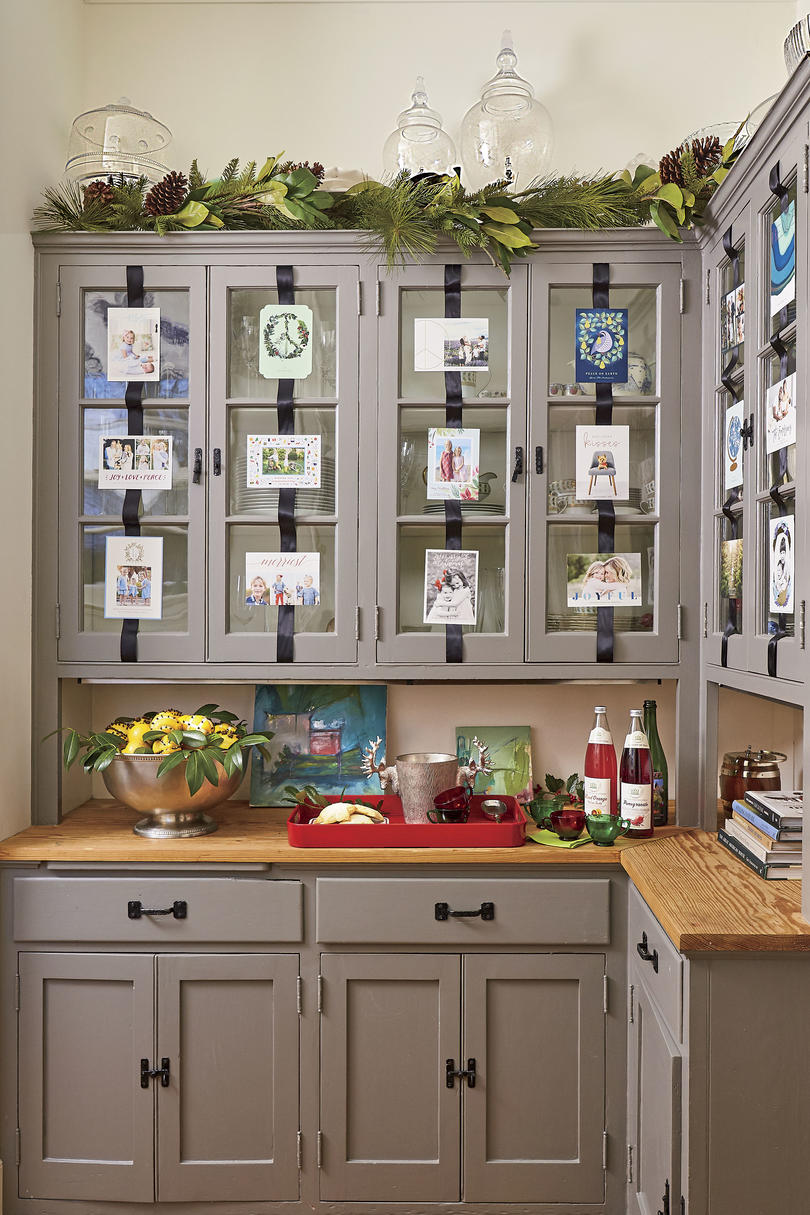 Natasha Lawler Charlottesville Home Decorated for Christmas with Christmas Card Display in the Buttler's Pantry