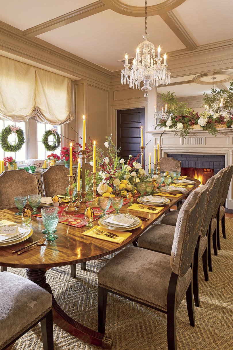 Natasha Lawler Charlottesvile Home Decorated for Christmas Dining Room