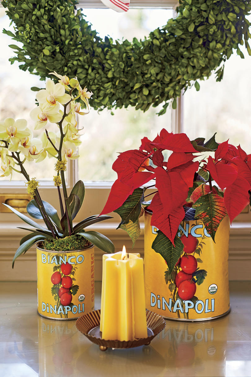 Natasha Lawler Tin Can Vases for Christmas Decorating