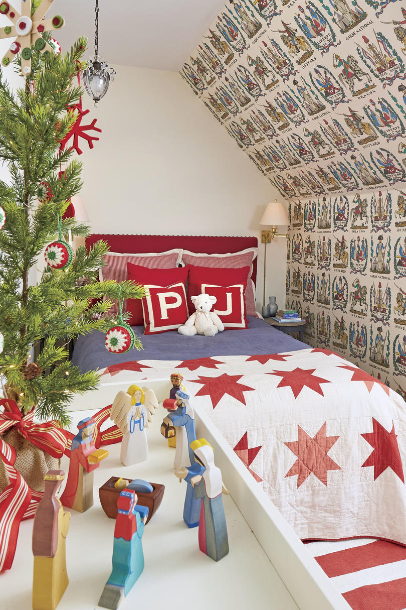 Natasha Lawler Charlottesvile Home Decorated for Christmas Son's Red Bedroom
