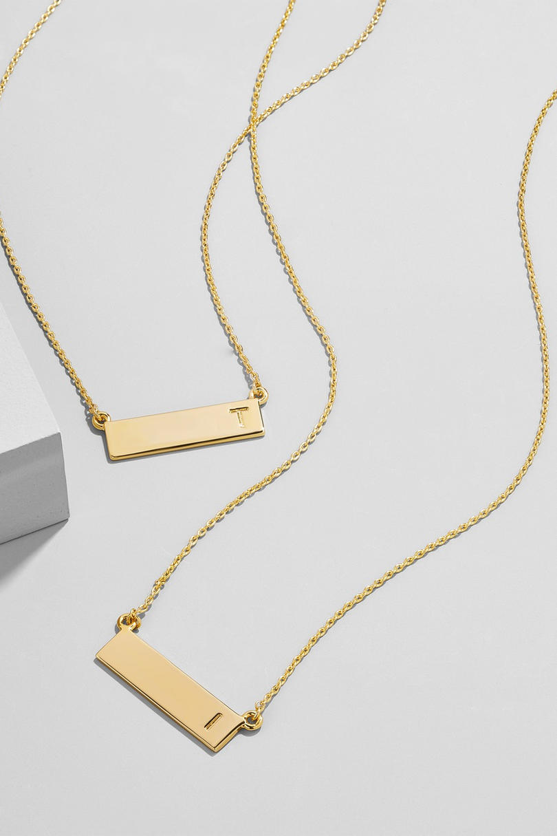 Initial Bar Pendant Necklace