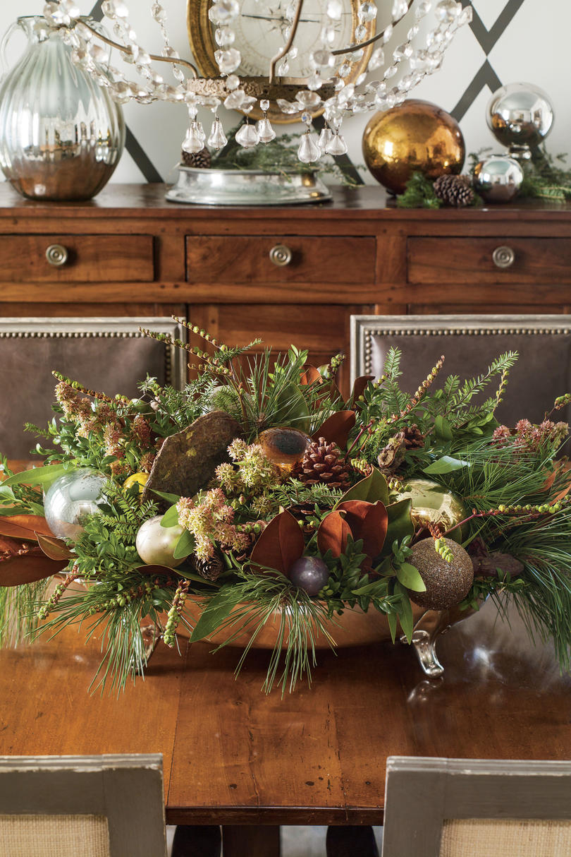 Fresh Spruce and Pinecone Christmas Centerpiece