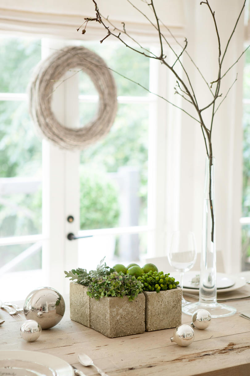 Christmas Centerpiece with White Branches and Succulents