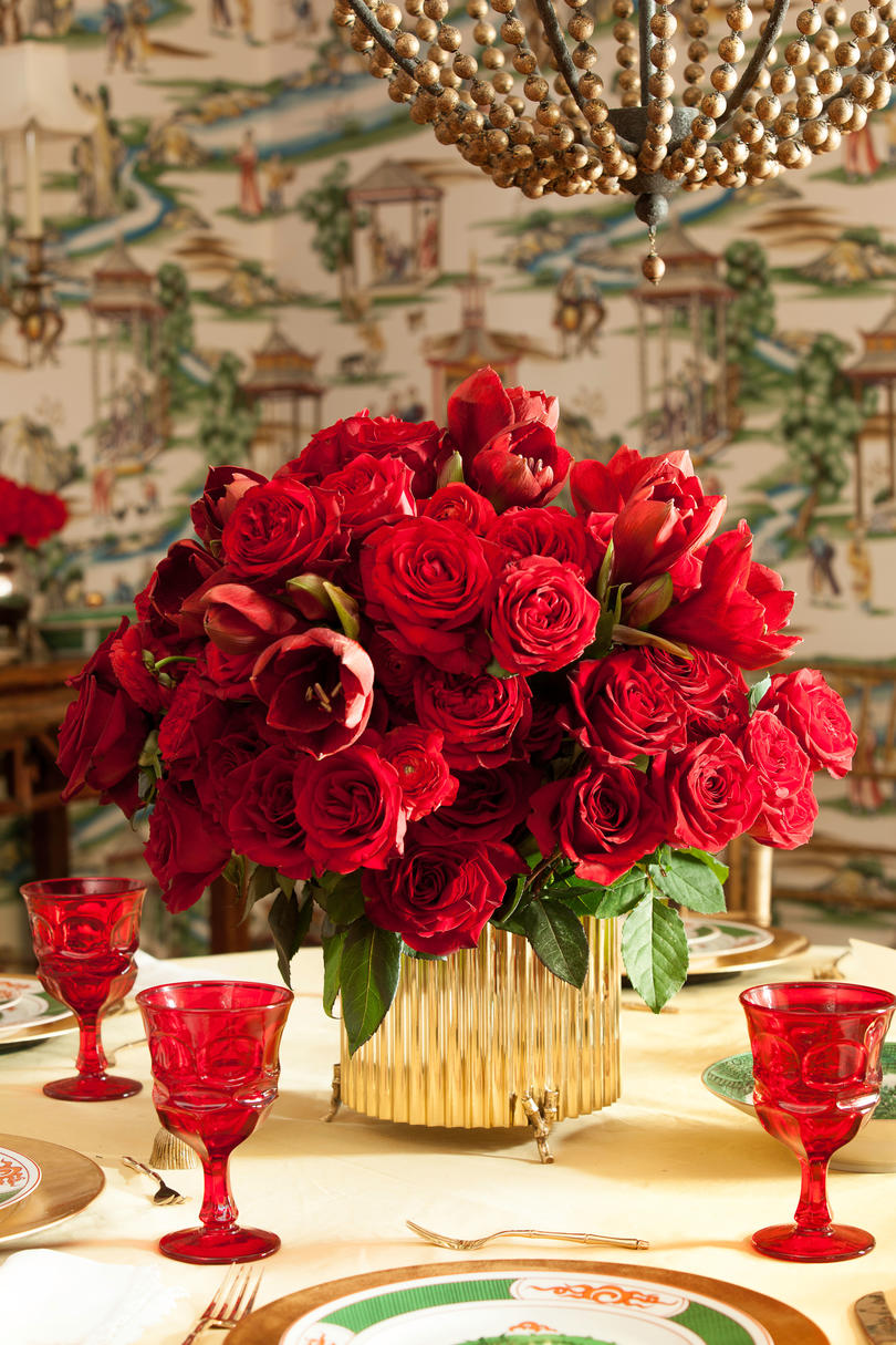 Red Roses and Gold Christmas Centerpiece