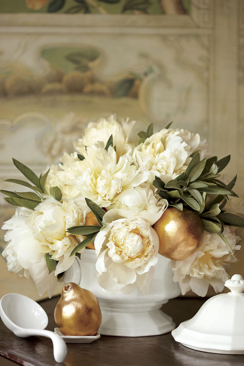 White Peonies and Gold Fruit Christmas Centerpiece