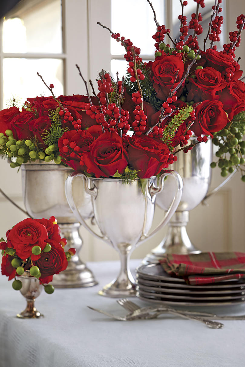 Red Roses in Trophy Vases Christmas Centerpiece