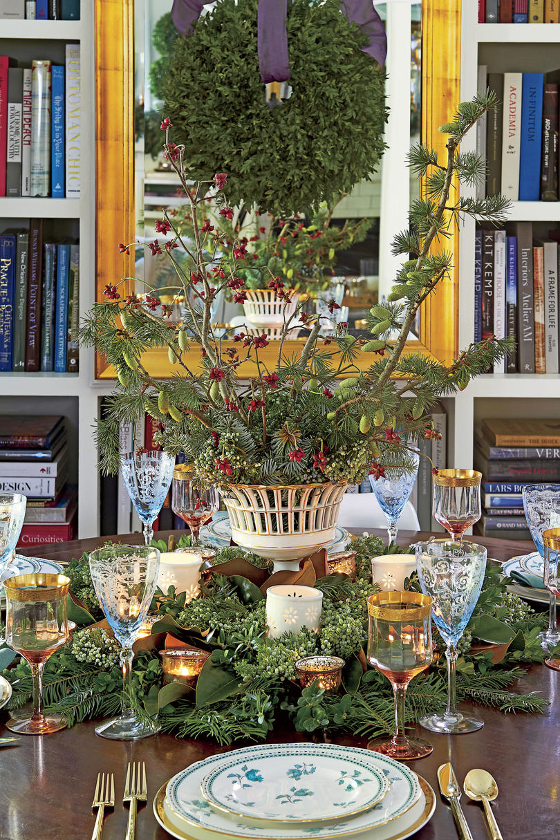 Greenery Branches Christmas Centerpiece