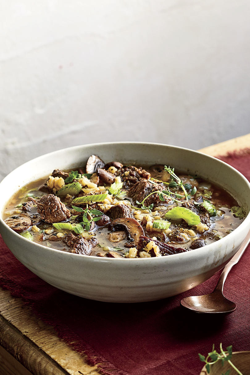 Instant Pot Beef-and-Barley Soup with Mushrooms