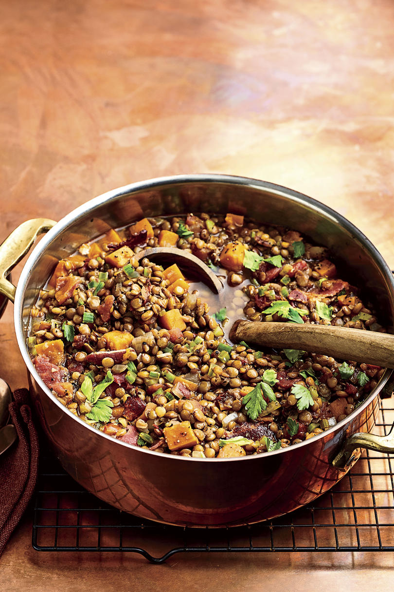 Lentil Soup with Sweet Potatoes and Bacon