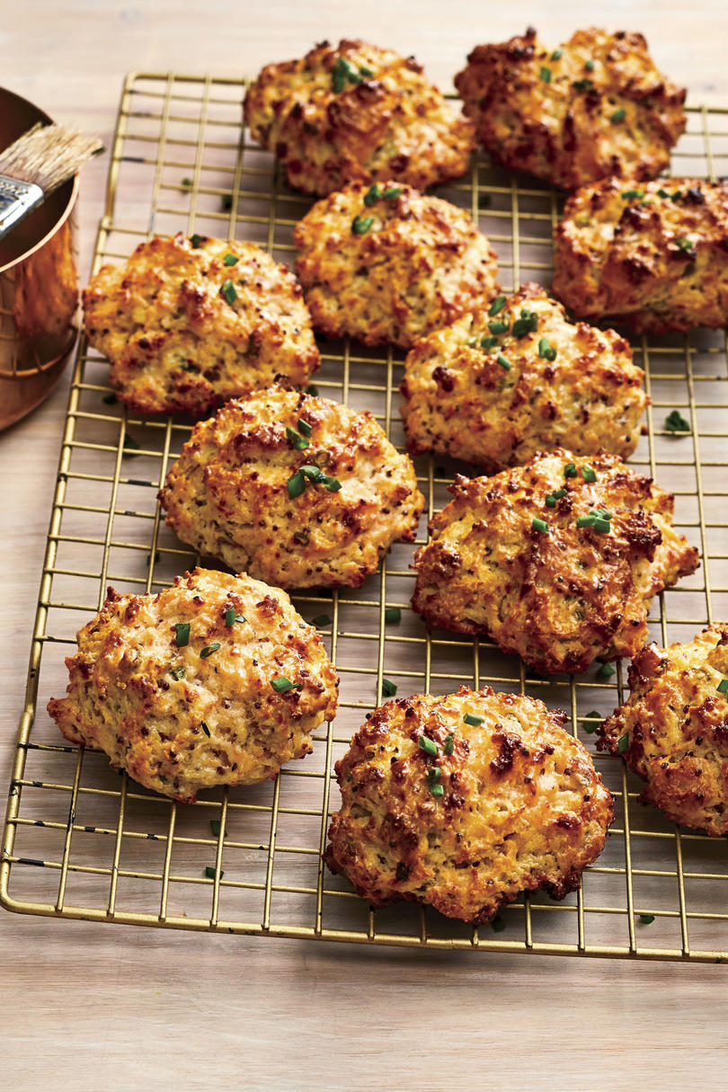 Buttery Chive-and-Mustard Drop Biscuits